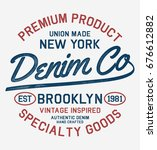 vintage brooklyn nyc denim... | Shutterstock .eps vector #676612882