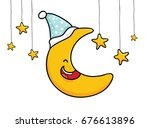moon cartoon | Shutterstock .eps vector #676613896