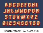3d vintage letters with neon... | Shutterstock .eps vector #676626418