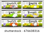 set of colorful stickers in... | Shutterstock .eps vector #676638316