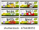 set of colorful stickers ... | Shutterstock .eps vector #676638352