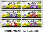 set of colorful stickers in... | Shutterstock .eps vector #676638388