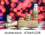 coins  chess piece and dice... | Shutterstock . vector #676641238