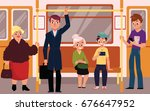 people in subway train car ... | Shutterstock .eps vector #676647952