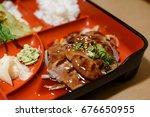 grilled teriyaki beef as part... | Shutterstock . vector #676650955