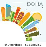 Stock vector doha skyline with color buildings blue sky and copy space vector illustration business travel 676655362