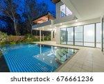 modern luxury villa with...   Shutterstock . vector #676661236