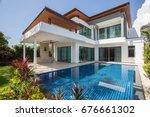 modern luxury villa with... | Shutterstock . vector #676661302