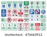 set of car parking sign. vector ... | Shutterstock .eps vector #676663912