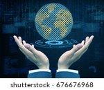 hand holding virtual world | Shutterstock . vector #676676968