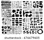 vector set of brush acrylic... | Shutterstock .eps vector #676679605