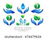 natural logo vector design set. ... | Shutterstock .eps vector #676679626