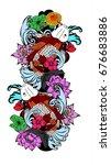beautiful line art koi carp... | Shutterstock .eps vector #676683886