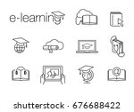 e learning line icons | Shutterstock .eps vector #676688422