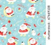 Seamless Pattern Santa Claus