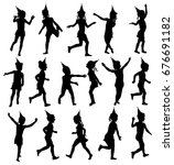 black and white set silhouettes ... | Shutterstock .eps vector #676691182