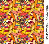 seamless pattern with abstract... | Shutterstock . vector #676694002