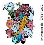 beautiful line art koi carp... | Shutterstock .eps vector #676696312