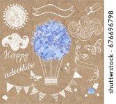 air travel on a balloon... | Shutterstock .eps vector #676696798