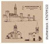 old castle  hand drawn vector... | Shutterstock .eps vector #676709122