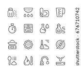 cooking related set line icons... | Shutterstock .eps vector #676710742