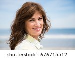 portrait of a happy and... | Shutterstock . vector #676715512