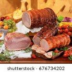 italian porchetta  roast pork  | Shutterstock . vector #676734202