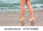pretty female legs on the... | Shutterstock . vector #676741882