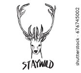 hand drawing style of deer head ... | Shutterstock .eps vector #676745002