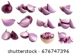 sliced red onion isolated on a... | Shutterstock . vector #676747396