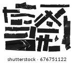 duct repair tape black set ...   Shutterstock . vector #676751122