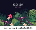 floral horizontal postcard... | Shutterstock .eps vector #676769896