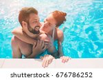 cheerful youthful guy and lady... | Shutterstock . vector #676786252