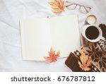 autumn lifestyle concept  blank ... | Shutterstock . vector #676787812