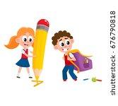 back to school concept   boy... | Shutterstock .eps vector #676790818