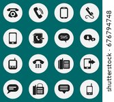 set of 16 editable phone icons. ...