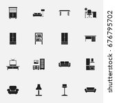 set of 16 editable interior... | Shutterstock .eps vector #676795702