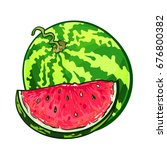 one watermelon with slice ... | Shutterstock .eps vector #676800382