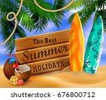 tropical vector background | Shutterstock .eps vector #676800712