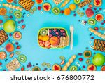 summertime healthy food concept ... | Shutterstock . vector #676800772