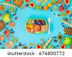 summertime healthy food concept ... | Shutterstock . vector #676800772
