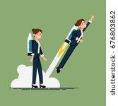 creative vector flat character... | Shutterstock .eps vector #676803862