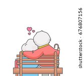 old lovers sitting on bench... | Shutterstock .eps vector #676807156