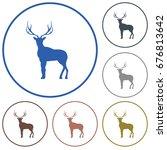 silhouette of the deer. flat... | Shutterstock .eps vector #676813642