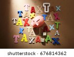saving for lot of tax | Shutterstock . vector #676814362