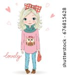 hand drawn beautiful  cute ... | Shutterstock .eps vector #676815628