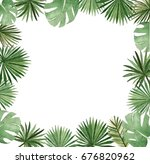 watercolor palm template | Shutterstock . vector #676820962