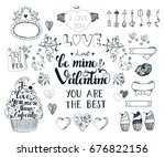 set with romantic element of... | Shutterstock . vector #676822156