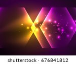 techno glowing glass hexagons... | Shutterstock . vector #676841812