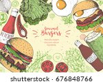 colorful burgers and... | Shutterstock .eps vector #676848766